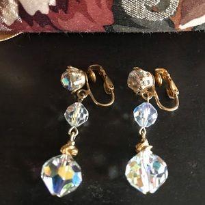 Vintage AB Crystal Bead Drop Clip On Earrings